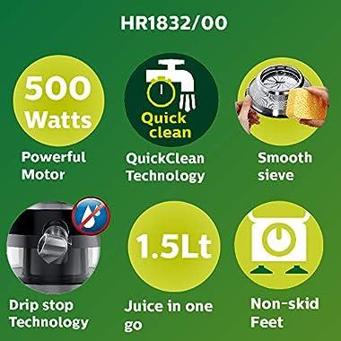 Philips Viva Collection HR1832/00 1.5-Litre 500-Watt Juicer (Ink Black) 10