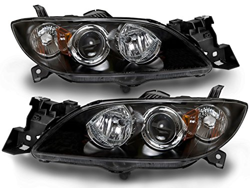 (PERDE Compatible with Mazda 3 Sedan w/Performance Lens Black Halogen Headlights Set New Pair)