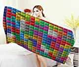 Anniutwo Video Games,Bath Towel,Colorful Retro Gaming Computer Brick Blocks Image Puzzle Digital 90s Play,Bathroom Towels,Multicolor Size: W 31.5'' x L 63''