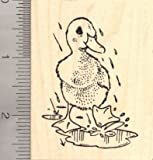Duck Playing in the Rain Rubber Stamp