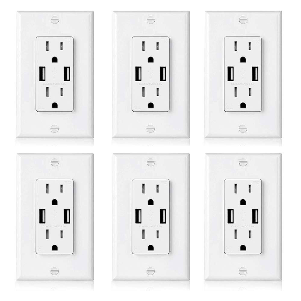 [6 Pack] BESTTEN USB Outlet Receptacle, Dual 3.6A High Speed USB Wall Charger, 15A Electrical Outlet with USB Port, Tamper Resistant Duplex Receptacle, Decorator Wall Plate Included, UL Listed, White by BESTTEN (Image #2)