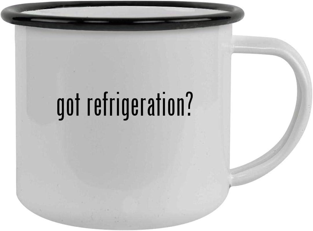 got refrigeration? - Sturdy 12oz Stainless Steel Camping Mug, Black