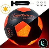NIGHTMATCH Light Up Soccer Ball INCL. Ball Pump Spare Batteries - Black Edition - Inside LED Lights up When Kicked - Glow in The Dark Soccer Ball - Size 5 - Official Size & Weight - Black/Orange