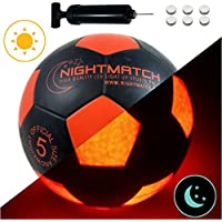 NIGHTMATCH Light Up Soccer Ball INCL. Ball Pump Spare...
