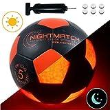 NightMatch Light Up Soccer Ball INCL. BALL PUMP and SPARE BATTERIES - Black