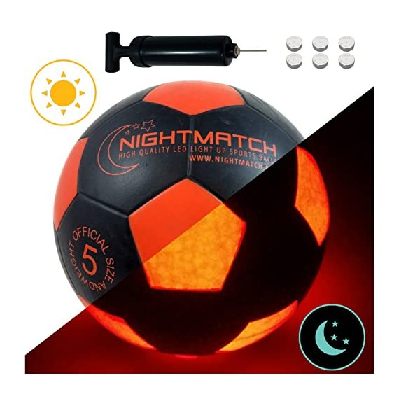 NIGHTMATCH Light Up Soccer Ball INCL. Ball Pump and Spare Batteries - Black Edition - Inside LED Lights up When Kicked - Glow in The Dark Soccer Ball - Size 5 - Official Size & Weight - Black/Orange - 51FzPsP8 GL - NIGHTMATCH Light Up Soccer Ball INCL. Ball Pump and Spare Batteries – Black Edition – Inside LED Lights up When Kicked – Glow in The Dark Soccer Ball – Size 5 – Official Size & Weight – Black/Orange
