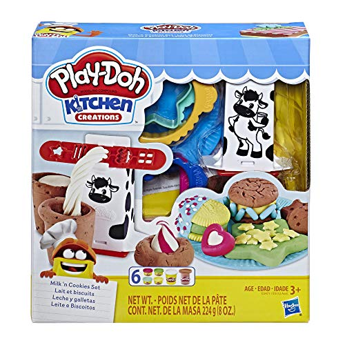 Play-Doh Kitchen Creations Milk and Cookies Set with 6 Non-Toxic Colors Including Play-Doh Confetti