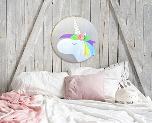 Inspired by Jewel Handmade Felt Unicorn Wall Art Picture Adorable Hand Stitched Girl's Bedroom Nursery Decor with 3D Rose Decal | Round Frame | 40 cm (15.7