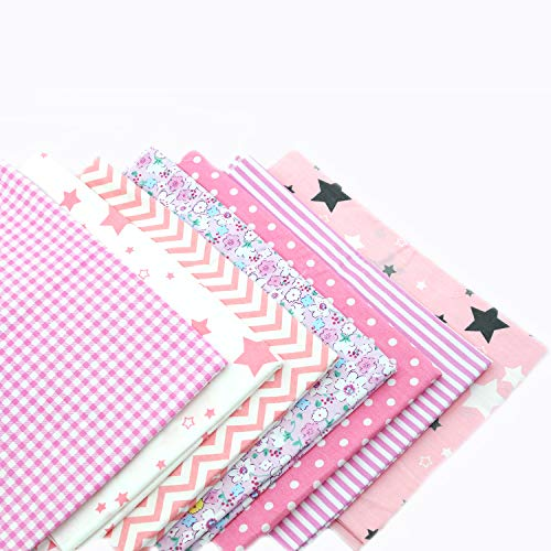 Printed Cotton Twill Pre-Cut Quilting Fat Quarter Fabric Assortments,Good Quality Craft Cloth Bundle Squares,DIY for Sewing Crafting Rose Flavor(Pink Assortments,18 by 20.5Inch)