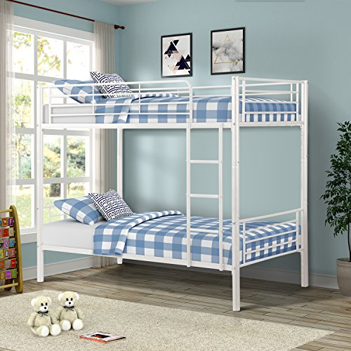 Merax Twin Over Twin Metal Bunk Bed (White)