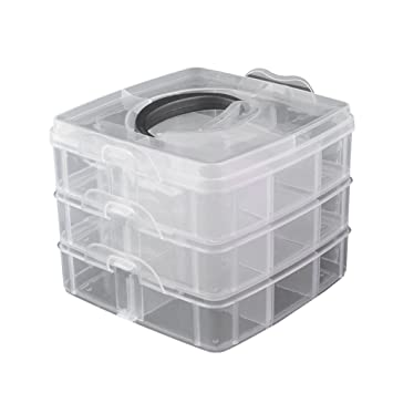 Amazon 3 Layers Plastic Nail Art Storage Box Rhinestone Tools