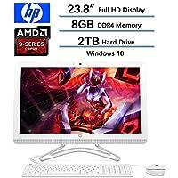 HP 23.8 FHD (1920x1080) All-in-One Desktop, AMD A9-9400 Processor, 8GB RAM, 2TB 7200RPM HDD, DVD, WIFI, Webcam, HDMI, Bluetooth, AMD Radeon R5, Windows 10, Snow White