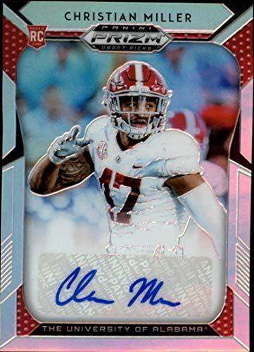 2019 Prizm Draft Picks Football Silver Prizm Autograph #183 Christian Miller Alabama Crimson Tide RC Rookie Auto Panini NFL Collegiate Card
