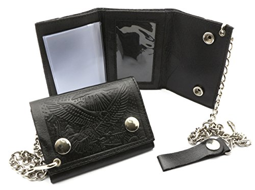 Trifold Black Genuine Leather Biker Chain Wallet Embossed Eagle in (Eagles Embossed Leather)