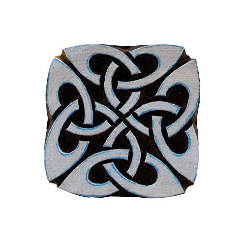 Square Celtic Knot Motif Wooden Printing Block Stamps Textile Print Tattoo Clay Pottery Blocks by CraftyArt