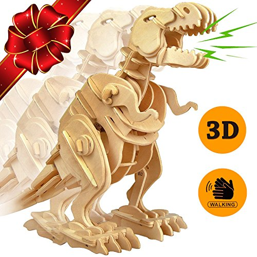 FLASH SALE | The Original Walking Wooden T-Rex Dinosaur 3D Puzzle Robot Toy - Top Gift for Kids - Building Toys Craft Puzzles - Children 6 7 8 Year Olds &Up - Best Educational Gifts for Boys and Girls (Paint Brush Birthday Candles)