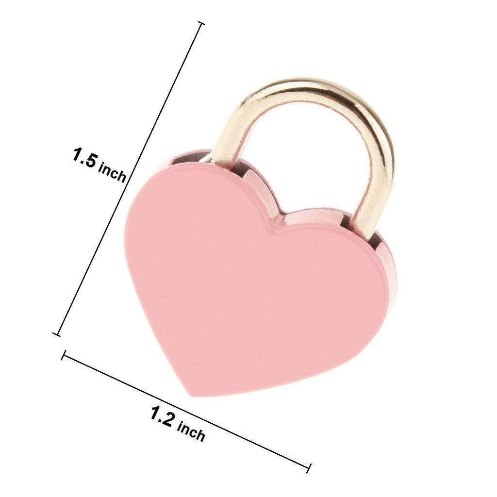 color rosa mini candado con llave para caja de almacenamiento de joyas Favson 3 unidades Candado peque/ño de metal con forma de coraz/ón