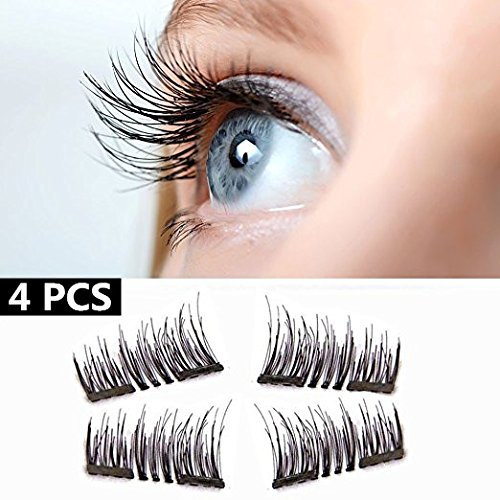 [4 Pcs] - HOBO 3D Dual Magnetic Eyelashes,0.2mm Ultra-thin Reusable Glue-free Fake Eyelashes,Dual Magnetic