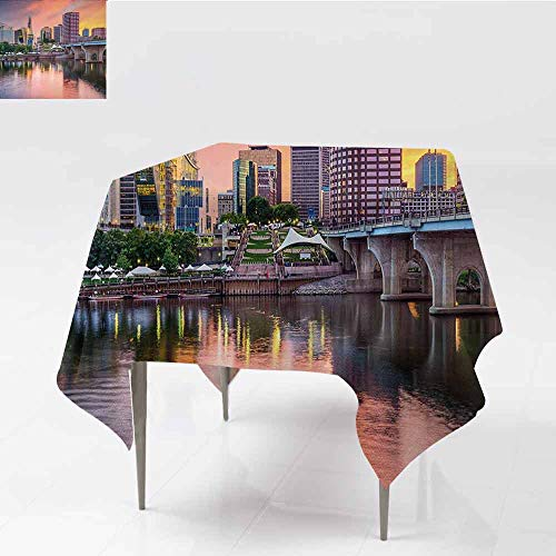 DILITECK Decorative Textured Fabric Tablecloth United States Water Reflection in Evening Urban City Hartford Connecticut Tranquil Sunset Party W54 xL54 Multicolor