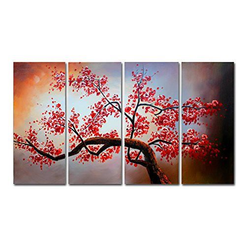 FLY SPRAY 4-Piece 100% Hand-Painted Oil Paintings Panels Stretched Framed Ready Hang Red Flower Tree Plant Modern Abstract Canvas Living Room Bedroom Office Wall Art Home Decoration (Castle Canvas Mural)