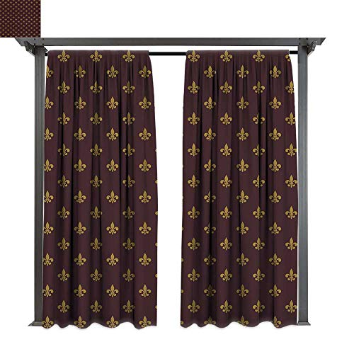 Fleur De Lis, Outdoor Privacy Curtain for Pergola, French Inspired Pattern European Culture Abstract Vintage Renaissance, Thermal Insulated Water Repellent Drape for Balcony (W96 x L108 Inches Burgun