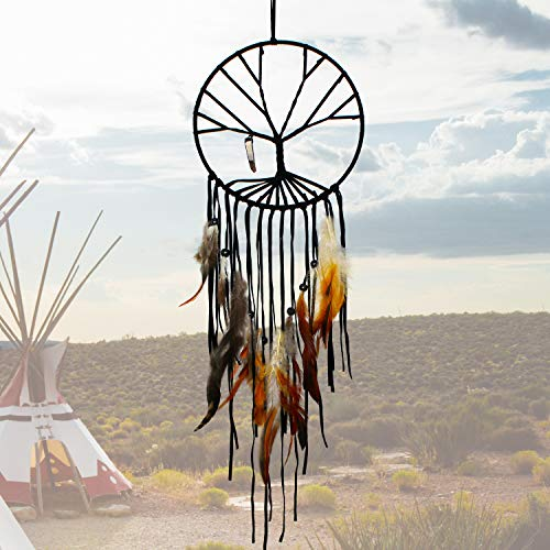 (SIKEMAY The Tree of Life Dream Catcher - Handmade Exquisite Feather Beaded Large Dream Catchers for Kids/Cars/Bedroom - Indians Traditional Art Wall Hanging Home Decoration)