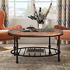 Farmhouse Coffee Tables P PURLOVE Round Coffee Table Rustic Style Living Room Table Home Table with Storage Shelf Metal Frame Easy Assembly… farmhouse coffee tables