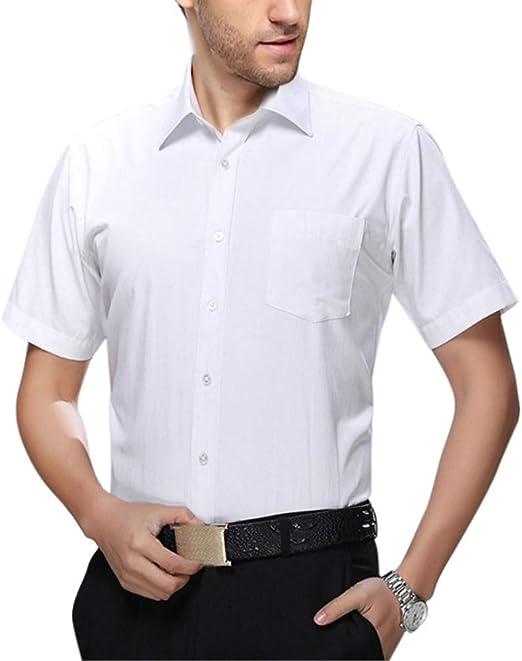 Camisa Casual de Negocios de Manga Corta Blanca para Hombre: Amazon.es: Hogar
