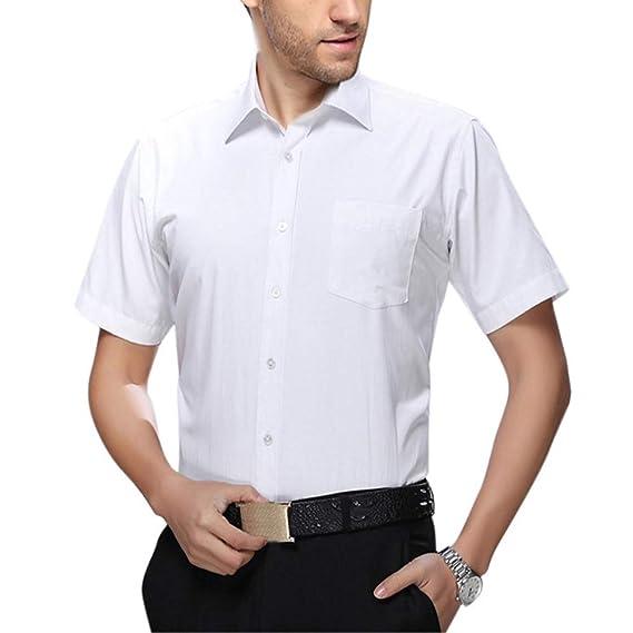 elegantstunning Men White Short Sleeve Business Casual Shirt ...