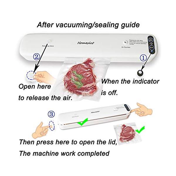 Homeslct Macchina Sottovuoto Professionale per Alimenti, Sigillatore Sottovuoto con 1 Tubo Accessorio e 5pz Sacchetti… 4