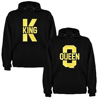 Pack de 2 Sudaderas Negras para Parejas King K y Queen Q Dorado: Amazon.es: Ropa y accesorios