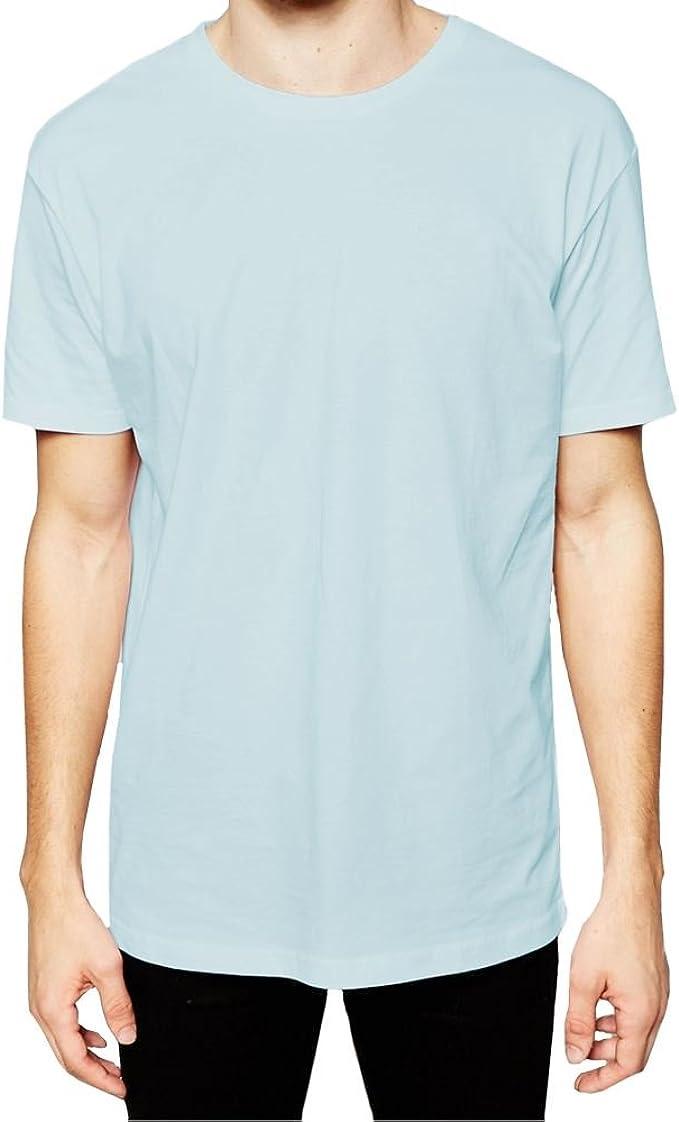 Mens Longline T-Shirts Short Sleeve High Quality Cotton Plain Designer Tee Top