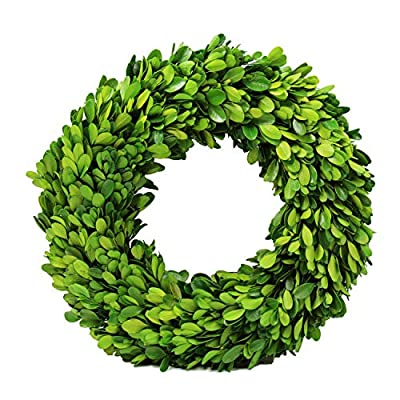 Preserved Boxwood Wreath Decor, Preserved Boxwood Round Wreath for The Front Door, Grapevine Loops Boxwood Wreath for Home Décor (12 inch) - 『REAL』 This is not a plastic wreath. This boxwood wreath is made of real boxwood stems and leaves which have been preserved. It is a natural product with natural variations in color and texture. Looks and Feels Real Because it is Real 『HANDMADE』 This stunning wreath is handcrafted, each individual leaf hand-selected with great care and preserved using our proprietary preserved technology preservation process. Made from real preserved Boxwood leaves and branches .Our Garden Boxwood wreath has been preserved and dyed to last for your enjoyment 『SUITABLE PLACE』Hang on your interior doors, above your mantel, in front of a mirror, or on a blank wall. It even makes a beautiful centerpiece on a table. Recommended for indoor use, keep away from direct sunlight to minimize fading - living-room-decor, living-room, home-decor - 51FzS0hBUCL. SS400  -