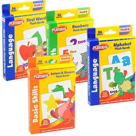Playskool Prek-K Flash Cards - First Words, Colors and Shapes, Alphabet and Numbers (Set of 4)
