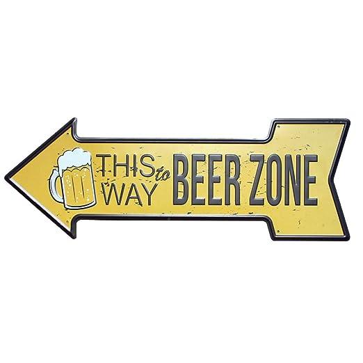 Hosaire 1x Cartel de Estaño Forma de Flecha Beer Zone ...