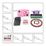 Complete Electric Acrylics Nail Drill Set, CoastaCloud Nail Drill File Manicure Pedicure Band Grooming Kit Bits Professional Salon Nail Machine with Foot Pedal - Pink