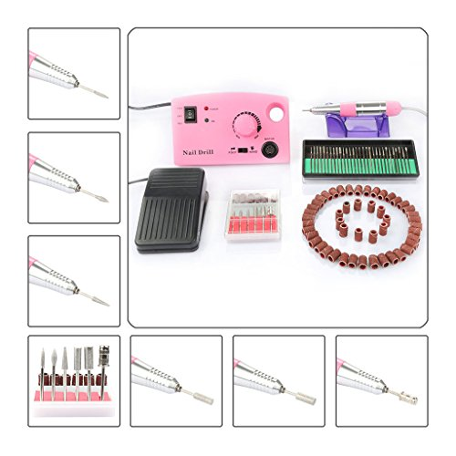 Cheap Complete Electric Acrylics Nail Drill Set, CoastaCloud Nail Drill File Manicure Pedicure Band Grooming Kit Bits Professional Salon Nail Machine with Foot Pedal – Pink