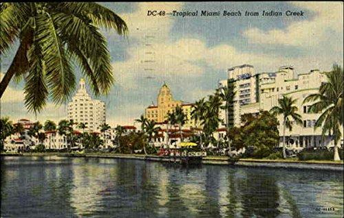 DC-48 - Tropical Miami Beach from Indian Creek Miami, Florida Original Vintage Postcard by CardCow Vintage...