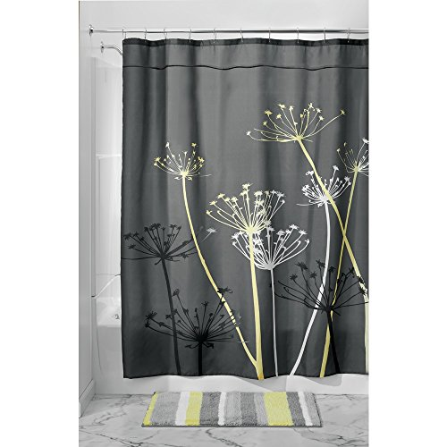 InterDesign Thistle Fabric Shower Curtain for Master, Guest, Kids', College Dorm Bathroom, Standard, Gray and Yellow