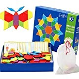 Wooden Pattern Blocks Game Toys for Home Early Learning Preschool Puzzle Children Kids