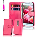 32nd® Book wallet PU leather case cover for Motorola Moto G 3 (3rd Gen / 2015 edition) + screen protector, cleaning cloth and touch stylus - Hot Pink