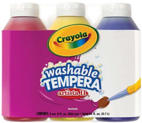 Crayola; Arista II Washable Tempera Paint; Primary Colors (Red, Yellow, Blue), Art Tools; 3 ct 8-OZ Bottles; Great for Classroom Projects -