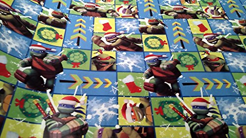 Christmas Wrapping Teenage Mutant Ninja Turtle Santa Hat Holiday Paper Gift Greetings 1 Roll Design Festive Wrap TMNT Square SF (Homemade Ninja Turtle Halloween Costumes)