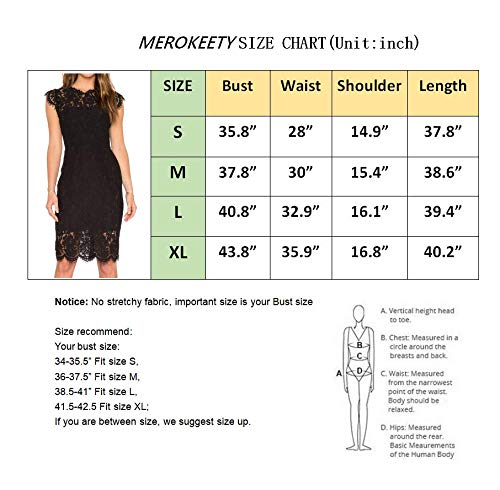 MEROKEETY Women's Sleeveless Lace Floral Elegant Cocktail Dress Crew Neck Knee Length for Party 4