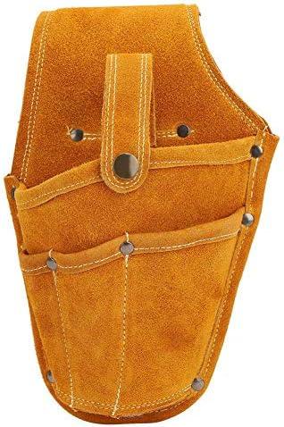 電気ツールウエストバッグ、黄色の牛革ウェアラブル多機能ストレージツールキット、電気メンテナンスツールポーチバッグ