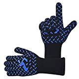 BBQ Gloves Extreme Heat Resistant Forearm Protection Oven Gloves Kitchen Baking Frying Cooking Grilling Gloves with Fingers and High Performance Heat Resistance 932℉ for Indoor Outdoor Use - XL