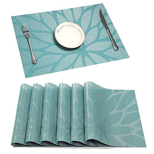 HEBE Placemat Set of 6 Washable Placemats for Dining Table Indoor Outdoor Heat Resistant Stain Resistant Crossweave Woven Vinyl Kitchen Table Mats Wipe Clean(6, Blue)