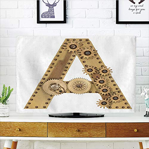 - iPrint LCD TV Cover Lovely,Letter A,Steampunk Mechanical Alphabet Letter Font A Photo Compilation Cogwheel Clench Decorative,Sand Brown,Diversified Design Compatible 47