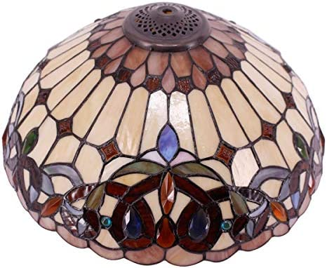 Tiffany Lamp Shade Replacement W16H7 Inch Stained Glass Serenity Victorian Lampshade