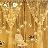 TOFU Star Curtain String Light, 100 LED Window Curtain Lights Plug in Curtain String Lights with 10 Stars 8 Flashing Modes Decoration for Wedding, Bedroom,Birthday (Warm White)